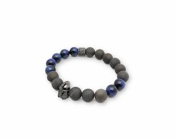 Mens Geode Collection - Dauntless Bracelet - blue tigers eye, mens jewelry, mens bracelet,semi precious stone jewelry, Christmas Gifts, Men