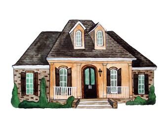 Custom House Portrait in Watercolor