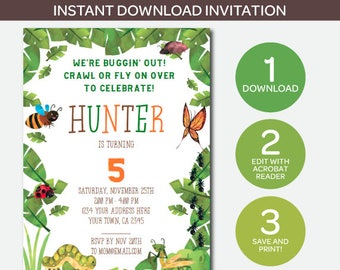 Bug birthday party etsy bugs invitation instant download invite insects birthday party creepy crawlers instant download invite edit yourself now filmwisefo