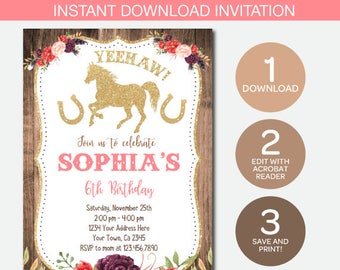 Cowgirl invitation etsy cowgirl invitation instant download invitation pony birthday party edit yourself filmwisefo
