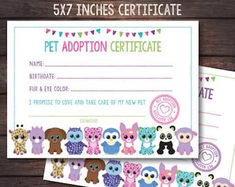 Beanie Boo adoption party, Beanie Boo adoption certificate, Beanie Boo adoption party, DIGITAL