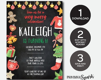 Instant Download Christmas Birthday Invitation, Holiday Party, Christmas Printable Invitation, Edit Yourself!