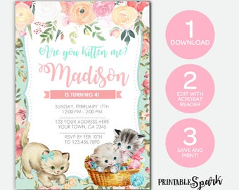 Instant Download Kitty Cat Invitation Vintage Floral Birthday Edit Yourself