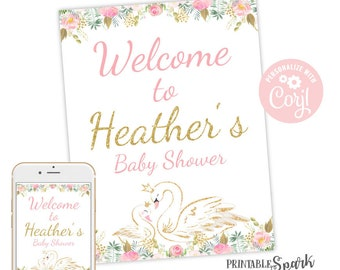 Digital Poster Swan Baby Shower Welcome Sign DIGITAL Pink and Gold Floral Swan Welcome Poster