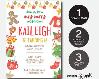 Instant Download Christmas Birthday Invitation, Cookie Exchange Party, Christmas Printable Invitation, Edit Yourself!
