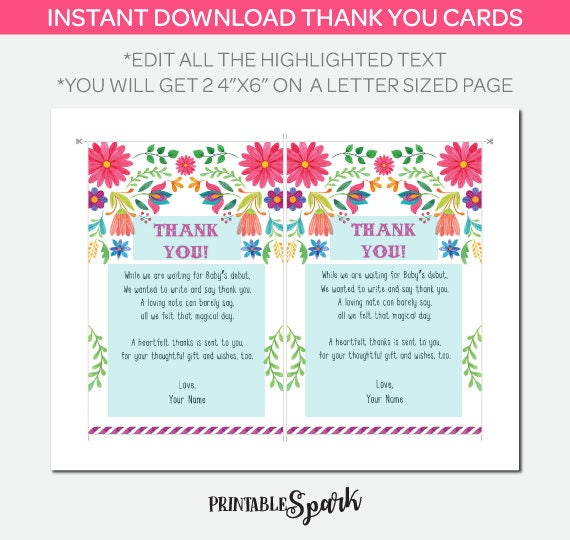 Fiesta Baby Shower Thank You Cards Instant Download Thank You Etsy