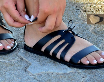 Greek leather sandals, Greek handmade leather sandals,Ankle strap sandals,Women strappy leather sandals, Women leather sandals, CELIA