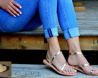 Greek leather sandals, Greek handmade leather sandals,Ankle strap sandals, Women gold leather sandals, AMBROSIA