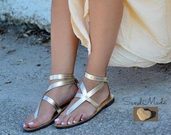 Greek leather sandals, Greek handmade leather sandals,Gold women sandals, Ankle Strap Sandals, LUCINDA