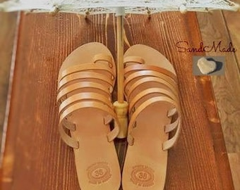 Greek leather sandals, Greek handmade leather sandals,Strappy leather sandals,Women summer sandals,ARSINOE