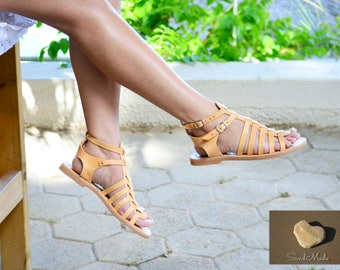 Greek leather sandals, Greek handmade leather sandals,Gladiator women sandals,Summer leather sandals, MELITTA