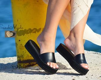 Greek leather sandals, Greek handmade leather sandals,Summer wedges, Women leather sandals, IDA