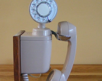 Vintage Working Space Maker Rotary Dial Telephone 1950s Automatic Electric Co Wallmount Phone