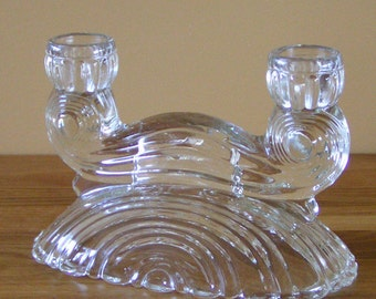 Vintage Clear Glass 2 Lite Candleholder 1950s Art Deco Home Décor Made in U.S.A.