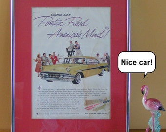 Framed Vintage Pontiac Superchief Advertisement Published in 1957 in the Saturday Evening Post Retro GM Advertising