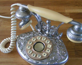 Tiny Vintage Working Telephone ORCHID II French Style Cradle Phone