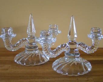 Pair of Vintage 2-Arm Candleholders Crystal Clear Fostoria Colony #332 Made in the U.S.A. in the 1940s