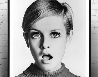 Twiggy, Home Decor, Celebrity Print, Print, Gift for her, Vintage Poster,