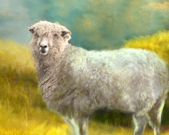 SHEEP GRAZING IN GREEN SUNLIT PASTURES LANDSCAPE PAINTING ART REAL CANVAS PRINT