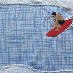 In Da Tube Textile Surf Art by Chris Viverito