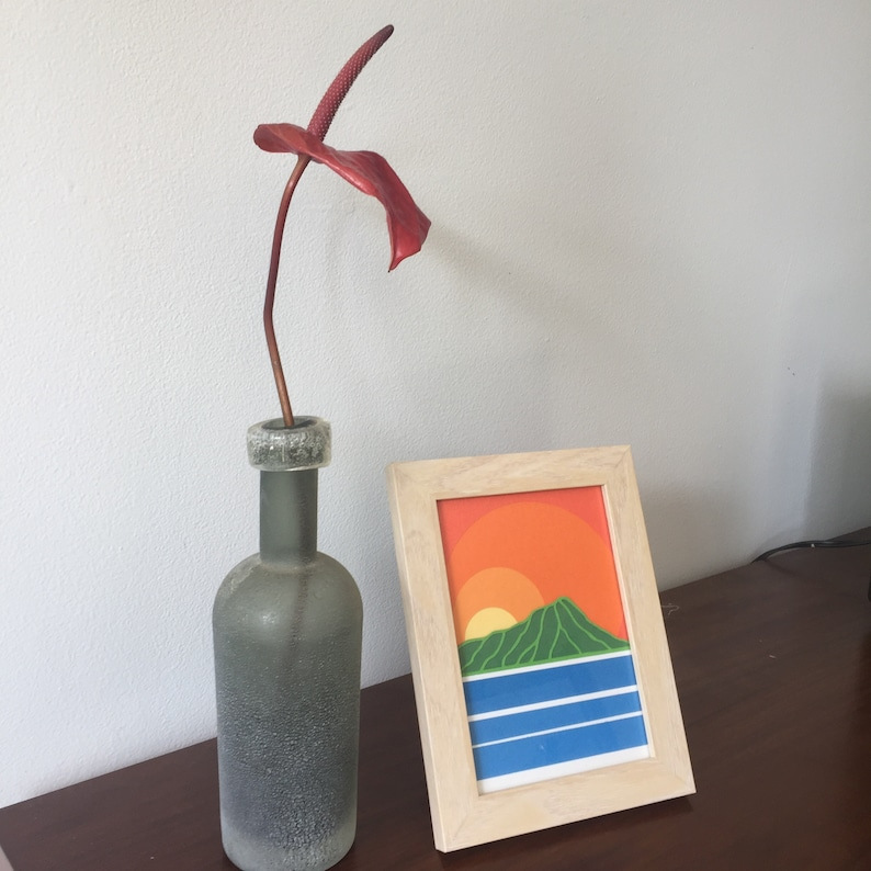 Waikiki Sunrise Framed Paper Cut Original by Chris Viverito image 0