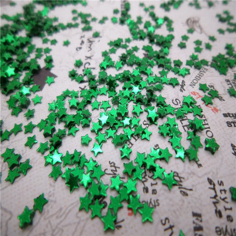 3mm USA Seller Craft Supplies 2000 Dark Green Iridescent Sparkling Star Loose Sequins 2000 pcs