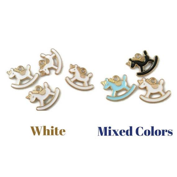 Black Rocking Horse toy bracelet charm Clip on Charm High Quality Enamel baby