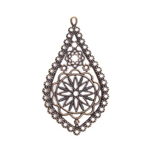 10pcs Antique Silver//Bronze Filigree Diamond Triangle Charm Pendants