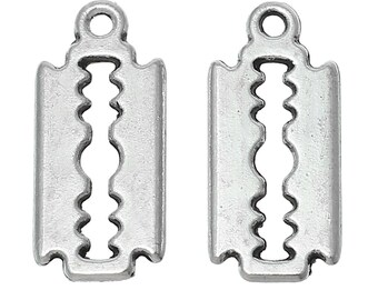 10 Razor Blade Charm Pendants Antique Silver Tone, Razorblade Charms, Double Sided Charms, USA Seller, 7x17mm, USA Seller, C146
