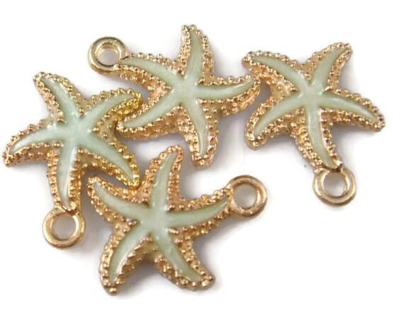 Star Fish//Conch//Sea shells//Ocean *13* Gold charms Expandable Bangle bracelet