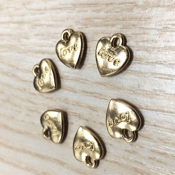 10 Antique Gold Bronze Puff Heart Charms Pendant Beads