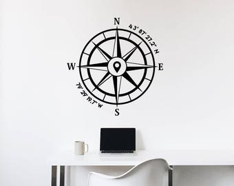 Custom GPS Coordinates Compass Decal