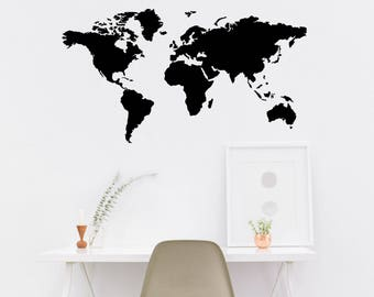 Wall Sticker World Map.World Map Decal Etsy