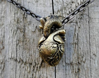 Brass anatomical heart pendant