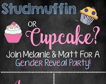 Studmuffin or Cupcake Gender Reveal Invite, Gender Reveal Invite
