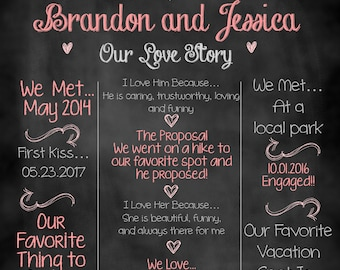 Our Love Story Sign, Our Love Story, Bridal Shower Sign, Chalkboard Sign