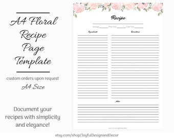 recipe page template etsy