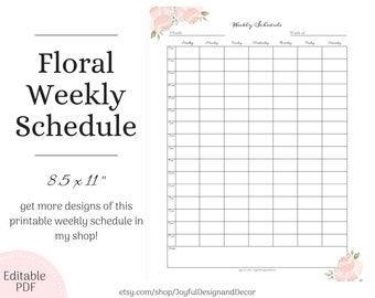 graphic about Printable Hourly Schedule called Hourly timetable Etsy