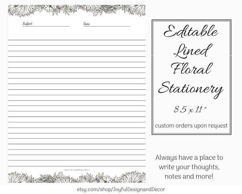 Lined Stationery Printable Paper Black Stationery Editable Paper Editable Stationery 8.5x11 Black and White Paper Floral Note Pages