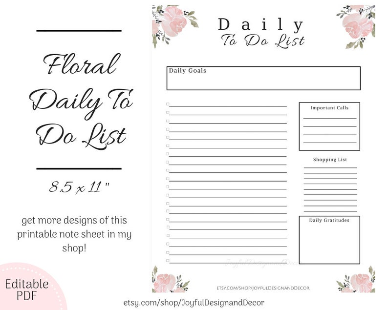 graphic relating to Printable Daily to Do List called Day by day Planner, Printable Day-to-day Towards Do Checklist, Editable In the direction of Do Checklist, Printable Checklist 8.5x11within, Printable Every day Aims, Floral Templates, Crimson Print