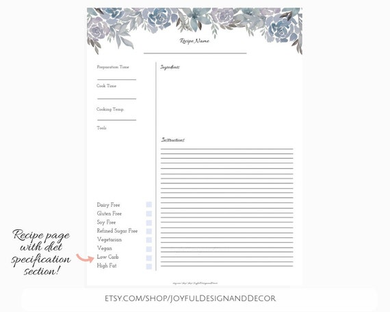 picture relating to Printable Recipe Pages identify Printable Recipe Internet pages, Floral Recipe Template, 8.5 x 11within, Recipe Sheet, Do-it-yourself Recipe Ebook, Recipe Guide Template, Floral Recipe Playing cards, PDF