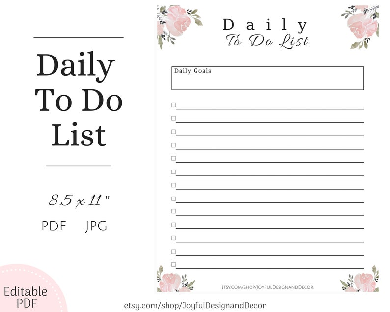 photo regarding Daily to Do List Printable identify Printable In direction of Do Checklist Floral In the direction of Do Listing Editable In direction of Do Record Each day Planner Day-to-day In direction of Do Record Floral Planner Fillable Record Crimson In direction of Do