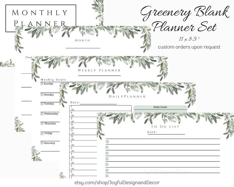photo regarding Blank Planner titled Per year Planner Customized Yr Planner Month to month Planner Printable Planner Printable Towards Do Listing Printable Greenery Calendar Day by day Planner