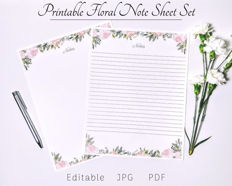 graphic regarding Printable Sationary identify Printable Stationery Mounted, Editable Stationery, Be aware Sheet, Included Printable Notes, Greenery Lists, Building Equipment, Floral Printables