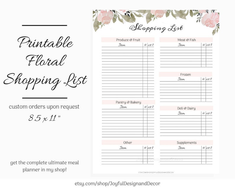 photo relating to Printable Blank Grocery List called Printable Grocery Record, Blank Browsing Checklist, 8.5 x 11inside, Floral Purchasing Planner, Quick Obtain, Grocery Checklist with Types, PDF, JPG