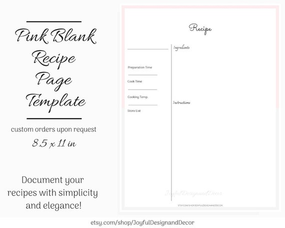 Printable Recipe Page, Blank Recipe Template, 8 5 x 11in, Pink Recipe Page  Templates, Kitchen Organization, Blank Recipe Page Templates