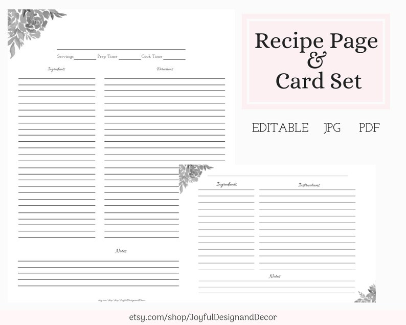 photo about Printable Recipe Pages called Printable Recipe Card Recipe Web page Editable Recipe Web page Recipe Sheet Printable Recipe 3.5x5 PDF Recipe Entire Web site Recipe Card Printable