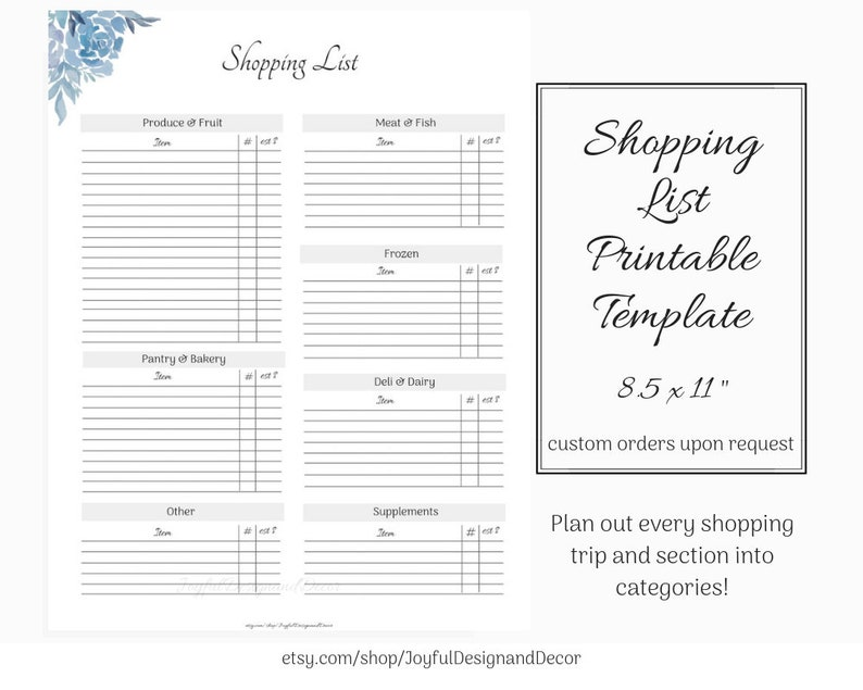 photo relating to Printable Grocery List Template titled Printable Grocery Checklist Template, Buying Record Template, Floral Grocery Checklist, Printable Retail store Listing, Grocery Listing Template With Classes