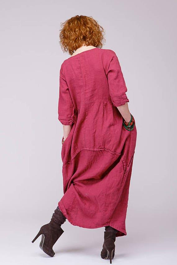 3e1e5da8173 Boho pure linen dress