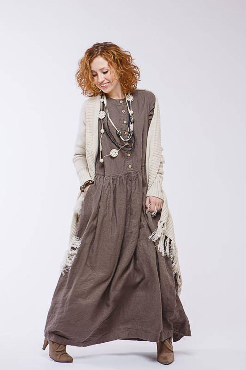 63bfe509b77 Boho Pure linen dress